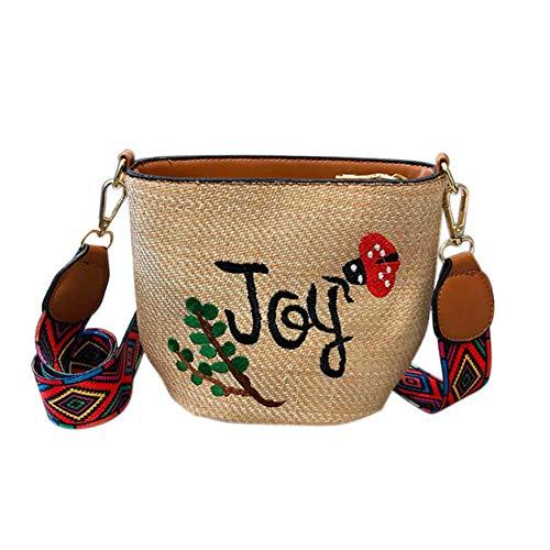 Dwqlx Stickerei Stroh Tasche Handweben Kleine Taschen Sommer Crossbody Mini Taschen Kaktus Süße Umhängetaschen für Frauen, Brown Joy