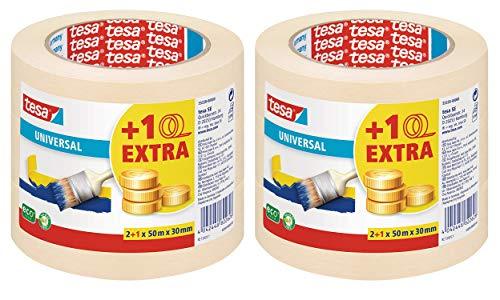 tesa Malerband für einfache Malerarbeiten, 50m x 30mm (50m x 30mm   2 x 3 Rollen)