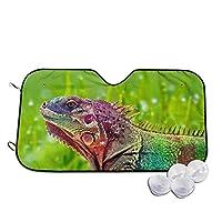 カラフル カメレオン 爬虫類 緑 車用 フロント サンシェード 強力断熱&UVカット 軽量 コンパクト 日よけ フロントシェード 軽自動車 吸盤2個