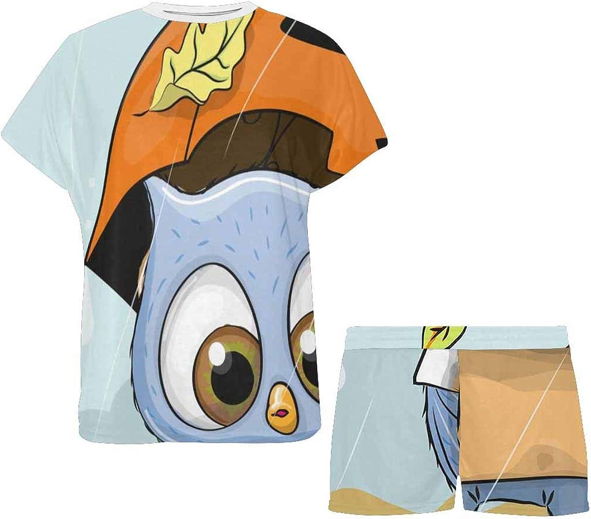 INTERESTPRINT Owls with Umbrella Under The Rain Women's Short Sleeve Breathable Sleepwear Two Piece Pajama Set