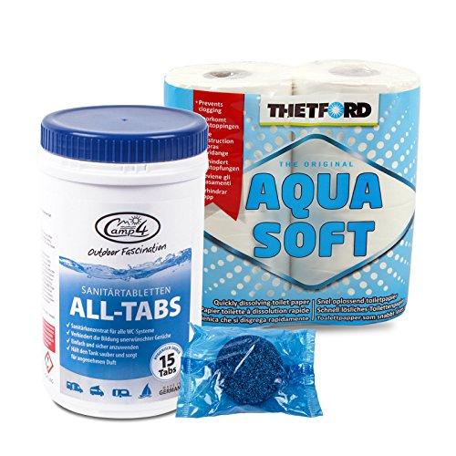 Camp4 All Tabs - Compresse igieniche per serbatoi di acque reflue + 4 rotoli Thetford Aqwuasoft per camper e barca