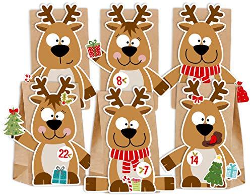 KuschelICH Adventskalender zum Befüllen Rentier Elch - mit Stickern zum Gestalten und selber Basteln - wiederverwendbar (Rentier)