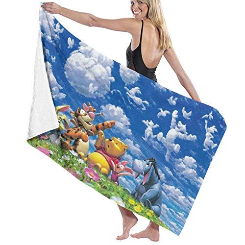 Winnie The Pooh Toalla de playa, colorida toalla de baño de algodón, grande, 80 x 130 cm, suave y superabsorbente de agua, toalla de baño para niños y adultos, para uso al aire libre, viajes, deporte