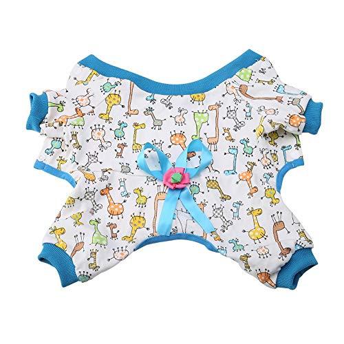 Huisdier Hond Hooded Kleding Kleine Hond Huisdier Pajamas Strik Bloem Jumpsuit Puppy Kleding Slaapmode Kleding Huisdier Hoodies Kleding Hond Kleding voor Kleine Honden en Katten, Blauw L