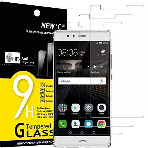 NEW'C 3 Pezzi, Vetro Temperato Compatibile con Huawei P9 Plus, Pellicola Prottetiva Anti Graffio, Anti-Impronte, Durezza 9H, 0,33mm Ultra Trasparente, Ultra Resistente