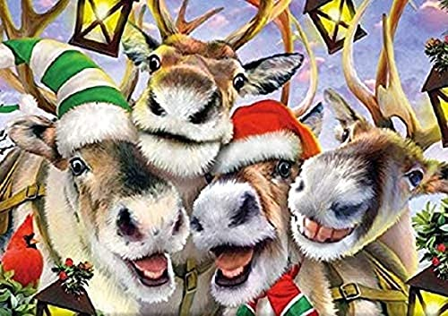 Jigsaw Puzzles Mini 1000 Pieces for Adults,Art Puzzles for Kids Challenging Puzzle Difficult Puzzles DIY Toys Gift for Home Decor,Selfie Reindeer Puzzle 26x38cm