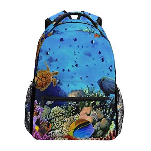 Rucksack Ocean Coral Reef Meeresschildkröte Schule College Daypack Lightweight Student Besonderes Geschenk Umhängetasche Rucksack Reise Vintage Print Casual Teens
