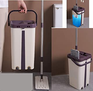 Self Cleaning Mop Bucket System Self Clean Wringing Flat Floor Squeeze Drying Wash Self Wash Reusable Microfiber Pads Kitc...