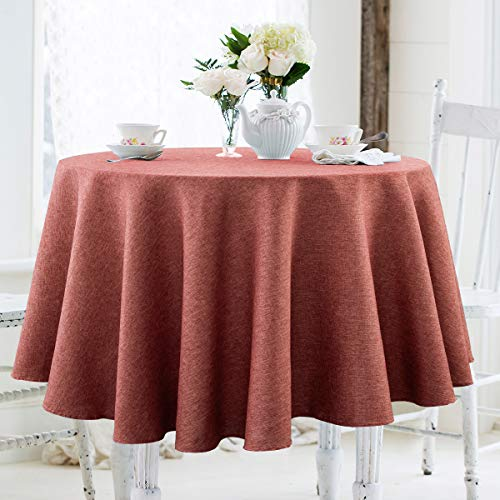 JUCFHY Christmas Round Table Cloth,Linen Rustic Tablecloth Heavy Duty Fabric,Stain Resistant,Stain Resistant Washable Table Cloths,Round Table Cover for Kitchen,Holiday(60 Inch Round,Coral Red)