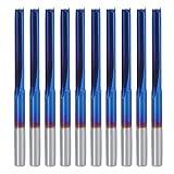 10Pcs Juego de fresas Revestimiento azul Carburo cementado Fresa recta de 2 flautas ZDZCYS22DL Fresa para madera
