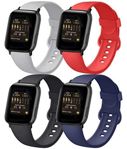AK 4er-Set Kompatible für Apple Watch Armband 38mm 42mm 40mm 44mm, Weiche Silikon Ersatz Armband für Apple Watch Series 5 4 3 2 1(Schwarz/Marineblau/Grau/Orangerot, 42mm/44mm-S/M)