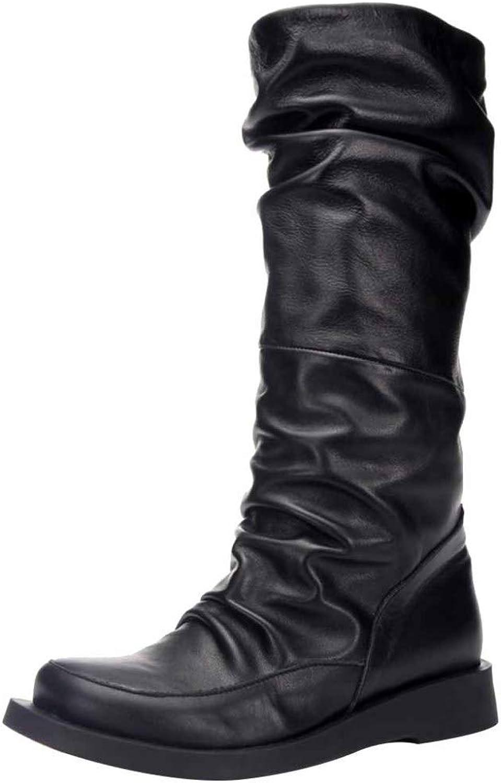 Miss Li Overknee-Stiefel Retro Faltarm Ritter Stiefel Leder Flache Stiefel Klassische Warme Wasserdichte Schuhe Für Herbst Und Winter