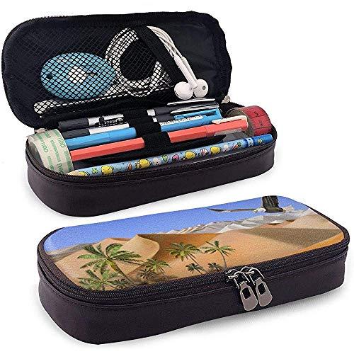Pu lederen etui, woestijn Oasis grote capaciteit opslag marker case pen houder, cosmetische make-up zak, briefpapier organisator potlood zak