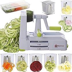 Brieftons 7-Blade Spiralizer: Stärkster und schwerster pflanzlicher Spiralschneider, bester Spaghetti-Hersteller für vegetarische Nudeln für kohlenhydratarme/paläo/glutenfreie Produkte