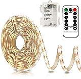 Tiras de LED a pilas 3 metros, 90 ledes, con mando a distancia, temporizador, 8 modos, regulable, autoadhesivo para TV, cocina, armario, dormitorio, decoración de casa (3 m/90 L, blanco cálido)