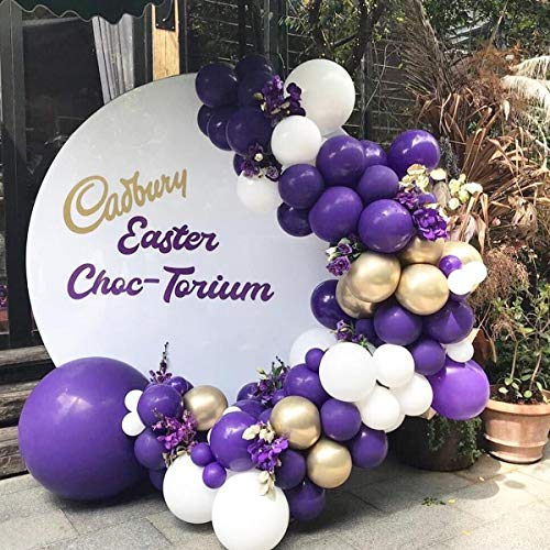Soonlyn Latex Balloons Purple Gold Balloons 100 Pcs 10 Inch Helium White Balloons Garland and Arch Kit for Wedding Engagement Baby Shower Birthday Party