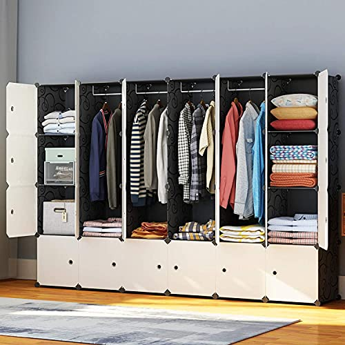 HOMIDEC Portable Wardrobe 24 Cube Closet with 4 Clothes Hanging Rods, Combination Armoire Modular Cabinet Space Saving Storage Organizer Unit for Bedroom Clothes Shoes Toys Books Towels