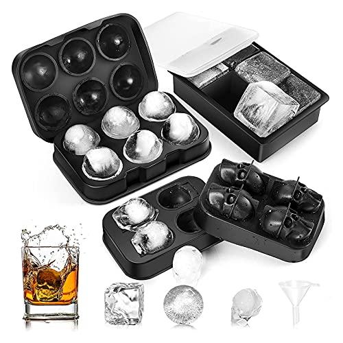 Delgeo Cubitera Hielo, 3pcs Moldes para Cubitos de Hielo, Bandeja de Hielo de Silicona sin BPA, Adecuado para Cócteles, Whisky y Cerveza (Negro)
