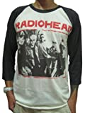Bunny Brand Men's Radiohead Thom Yorke Rock Music Raglan T-Shirt,White,Large