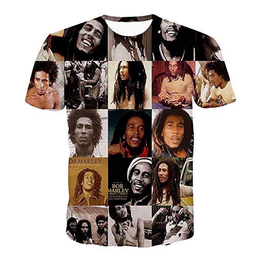 O-Cuello de algodón Mujer/Camisetas de Hombre Reggae Bob Marley impresión en 3D Camisetas de Hombre Camisetas Casuales Camiseta de Hip Hop Tops de Verano
