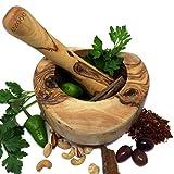 Mortier et pilon en bois d'olivier Ensemble de taille: 14cm