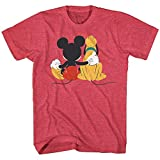 Disney Mickey Mouse & Pluto Back Disneyland World Tee Funny Humor Adult Mens Graphic T-Shirt Apparel (Red Heather, Large)