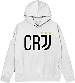 Sarazong Multicolor Sweatshirt Hoodie,C Ronaldo Pullover Fleece Football Club Fan Hoody, Sweatshirt Gift for Football Fans League Captain Men's Spring Autumn,White,M