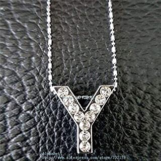Davitu Multiple Options! T-U 18mm Slide Letters Full Rhinestone Hang Letters Charms Necklace Pendant with 42CM Necklace Chain - (Metal Color: Y)