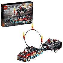 LEGO Technic - Espectáculo Acrobático: Camión y Moto, Set de Construcción de Juguete con Modelo 2 en 1 y Motor Pull-back,