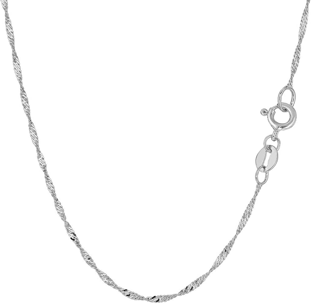 10K Yellow or White Gold 1.5mm Shiny Diamond-Cut Classic Singapore Chain Necklace for Pendants and Charms with Spring-Ring Clasp Womens Jewelry (7