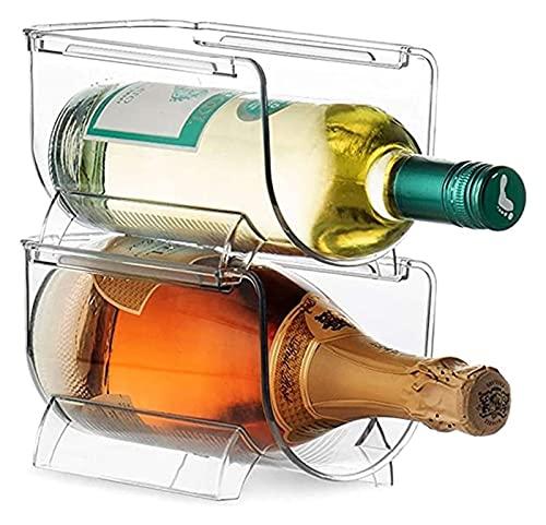 LSZ estantería de Vino Soporte de Botella de Vino apilable de plástico de 2pc, Soporte de Botella de Vino apilable para el Vino de la Cerveza de Soda estantería de Vino