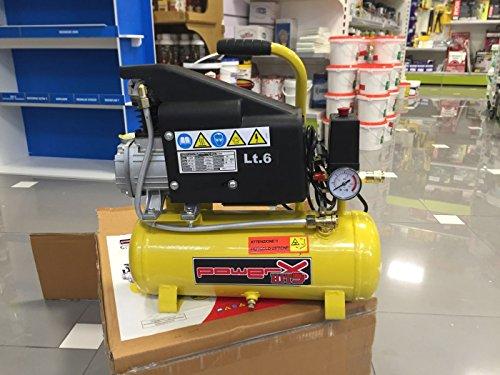 Compressore 6 lt Olio Pressione 8 Bar 1 Hp 118 lt/min 750 Watt con Manometro e Connettore
