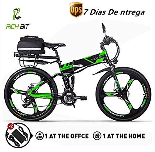 RICH BIT Vélo électrique mis à Jour RT860 36 V 12.8A Lithium Batterie Velo Pliant VTT 17 * 26 Pouces Shimano 21 Vitesse vélo Intelligent E Bike (Vert)