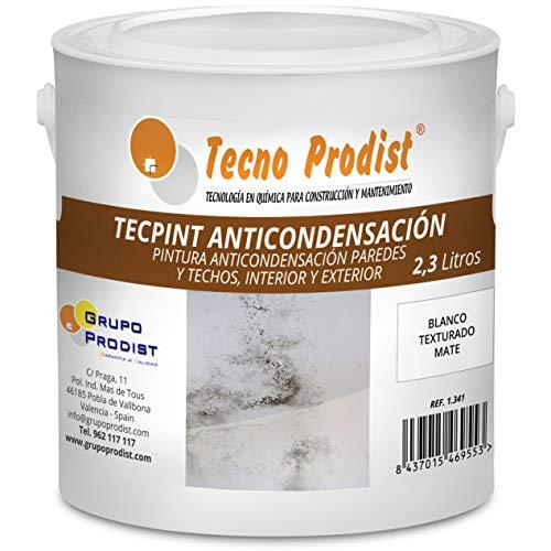TECPINT ANTICONDENSACIÓN de Tecno Prodist - 2,3 Litros - Pintura Anti-condensación y Anti-moho al Agua para Interior y Exterior - Paredes y Techos - Buena Calidad - Fácil Aplicación - (BLANCO)