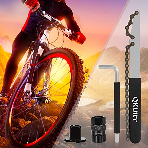 QKURT Bike Chain Tool Kits, Bicycle Cassette Removal Tool+Auxiliary Wrench+Cassette Lockring Tool with Pin+Sprocket Remover-Black