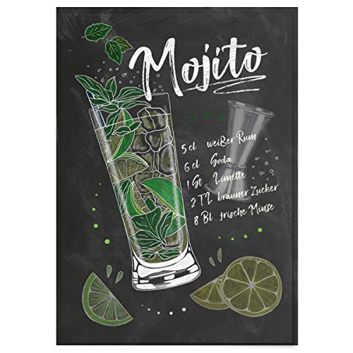 JUNIWORDS Poster mit/ohne Holzrahmen - Wähle ein Motiv - Cocktail Mojito - Wähle eine Größe - 21 x 30 cm (S) ohne Rahmen