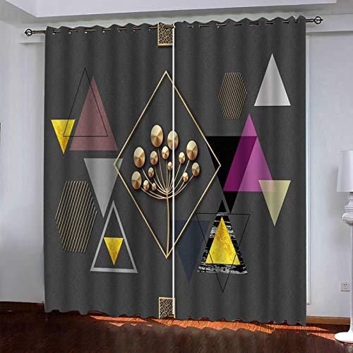 WLHRJ Cortina Opaca en Cocina el Salon dormitorios habitación Infantil 3D Impresión Digital Ojales Cortinas termica - 140x100 cm - Triángulo geométrico Gris