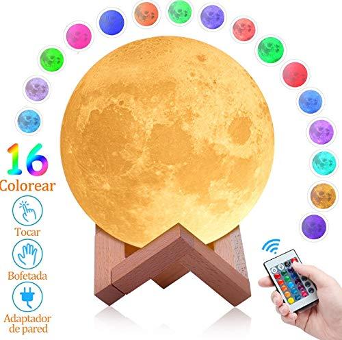 SOONAN Lámpara de Luna 3D con16 Colores,Luz Nocturna Luna