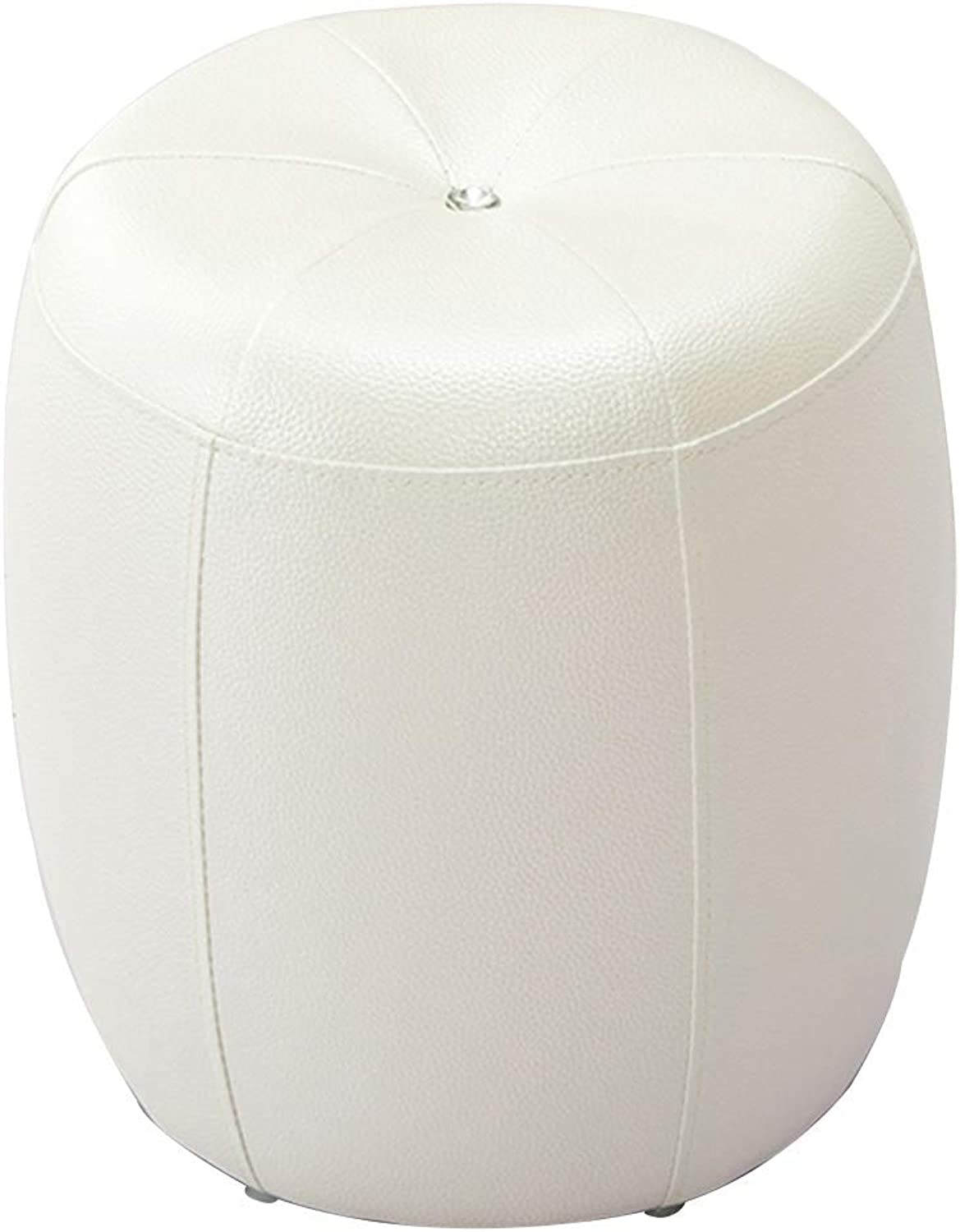BYPING pouffes and Stool Upholstered footstools Solid Wood PU Wear Resistant Cotton pad Bedroom Change shoes, 4 colors (color   White, Size   35X35X40CM)