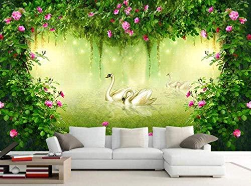ZZXIAO Cuento de hadas Fantasía Bosque Rosa Flor para cocina Decoración Fotomural sala Pared Pintado Papel tapiz no tejido-350cm×256cm