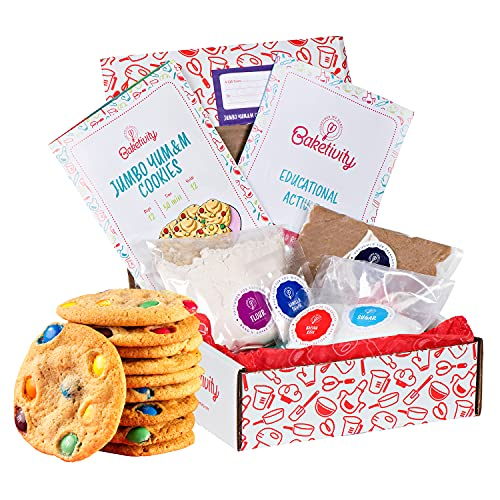 BAKETIVITY Kids Baking DIY Activity Kit - Bake Delicious Yum&m Jumbo Cookies- Real Fun Little Junior Chef Essential Kitchen Lessons, Includes Pre-Measured Ingredients and Easy to Follow Recipe.