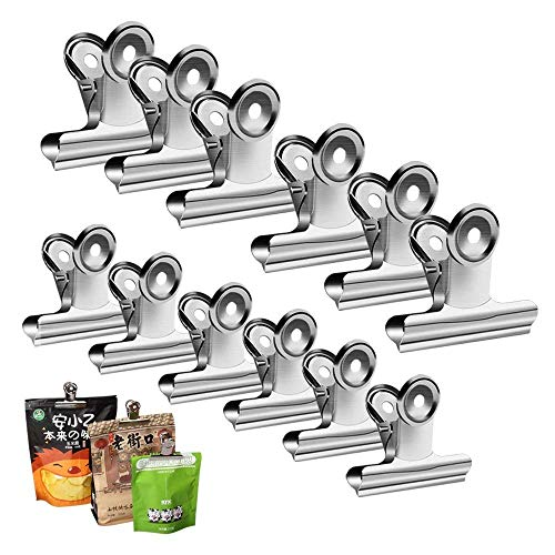 Chip Clips Bag Clips Food Clips  Heavy Duty Clips for Bag Silver  AllPurpose Air Tight Seal Good Grip Clips Cubicle Hooks for Office School Home Pack of 12