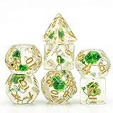 L.J.JZDY Dado Flower Dice 7pcs D4 D6 D8 D10 D% D12 D20 Juegos de Polyhedral Dados Set para Juegos de Mesa (Color : Golden Numbers, Size : Gratis)