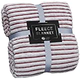 GREEN ORANGE Fleece Blanket Queen Size – 90x90, Lightweight, Red and White – Soft, Plush, Fluffy, Warm, Cozy – Perfect Full Size Throw for Couch, Bed, Sofa