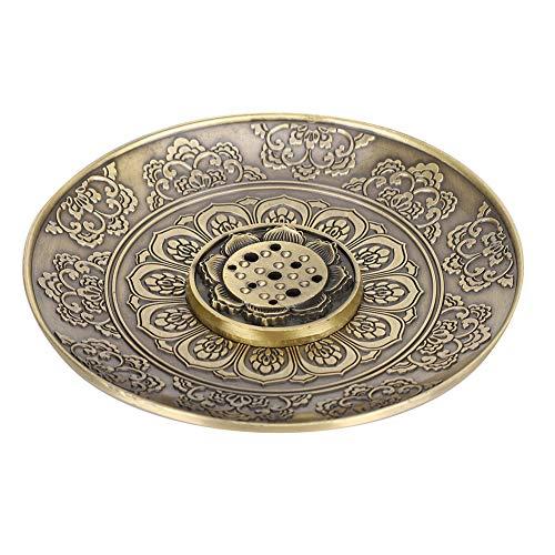 Liyeehao Porta Incienso, Quemador de Incienso Redondo de Bronce, para Uso doméstico como Regalo