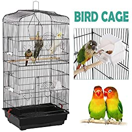YaheetechLarge Bird Cage for Budgies Lovebirds Finches Cockatiels Conures Canary Tall Metal Small Parrots Cage Sun Quaker Parakeets Green Cheek Travel Bird Cage 92cm High White/Black