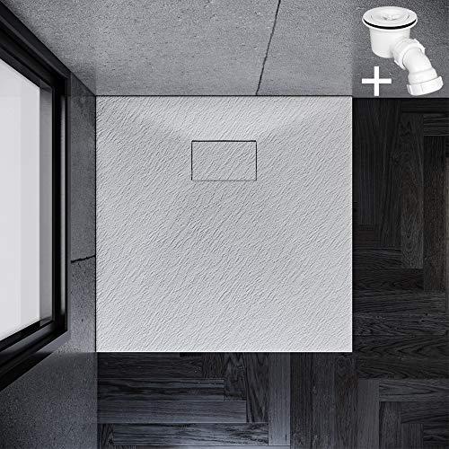 SONNI Duschwanne 80x80 cm Weiß Steinoptik Mineralguss Rechteckig Duschtasse mit Dusche Ablaufgarnitur