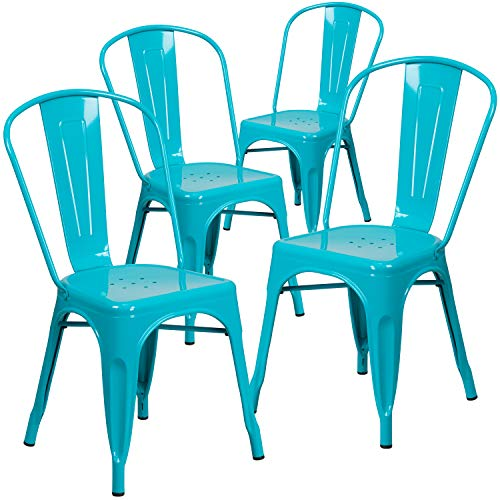 Flash Furniture Commercial Grade 4 Pack Crystal Teal-Blue Metal Indoor-Outdoor Stackable Chair