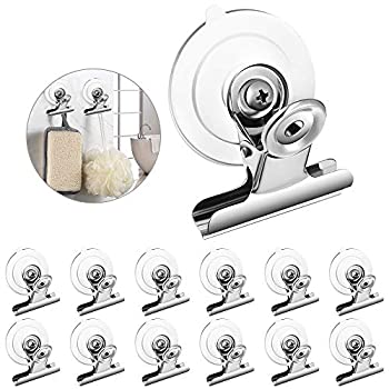 Aufind 12 Packs Suction Cup Clip Plastic Round Suction Cup Clamp Holder Strong Window Glass Suction Cup Clip for Hanging Kitchen Bathroom Office Accessories…