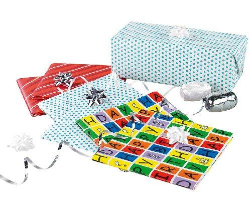 infactory Geschenkband: 14-teiliges Geschenkverpackungs-Set für Geburtstage (Geschenk-Papiere)